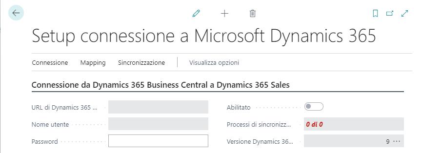 Setup connessione tra Dynamics 365 Business Central e Dynamics 365 Sales.
